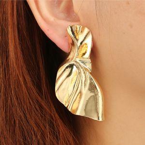 Punk Irregular Fold Drop Earrings for Women Punk Gold Silver Color Gemetric Metal Piercing Earring Statement Jewelry 6143