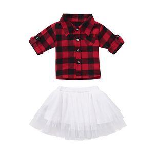 Noel Bebek kız kıyafetler bebek kırmızı siyah Ekose üst + Tutu dantel etekler 2 adet / takım moda Sonbahar Noel çocuklar kafes Giyim C5377 Setleri