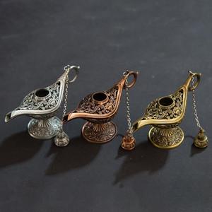 Clássico Rare Oco Lenda Aladdin Magia Genie Lâmpadas incensário Queimadores de Incenso Estatueta Do Vintage Que Deseja A Lâmpada de Óleo Home Decor Presente Fragrância