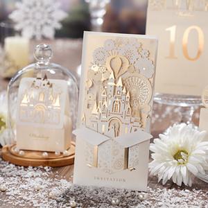Свадебные пригласительные открытки Персонализированные невесты Лазерная резка Свадебные пригласительные открытки Love Castle для печати с конвертом и печатью