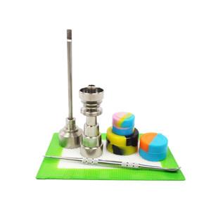 유리 물 파이프 10mm 14mm 18mm 티타늄 못과 티 카브 캡으로 장식 된 봉 도구 Dabber Silicone Jar dab mat Glass Water Bongs