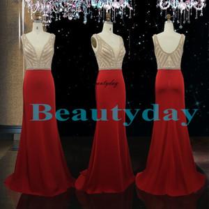 Vestidos de fiesta rojos 2019 Nuevo Oriente Medio Vestido de noche formal Dama de honor Fiesta Vestidos Vestidos Tallas grandes Imagen real Cristales Sirena