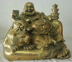 Chinesische Folk Culture handgemachte alte Bronze Messing Statue Maitreya Buddha Skulptur