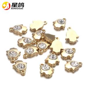 15 * 13mm argent / plaqué or fatima hamsa main charmes pendentifs pour collier bracelet fabrication de charmes en acier inoxydable bricolage à la main
