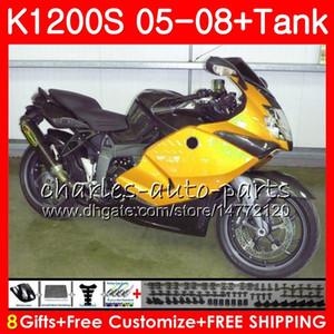 Corps noir doré pour BMW K1200S K 1200 S 05 10 K1200 S 05 06 06 07 08 09 10 103HM.53 K 1200S K1200S 2005 2006 2007 2008 2009 2010 Kit de carénage