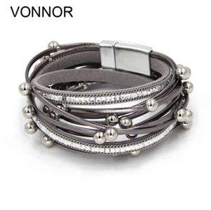 VONNOR مجوهرات أساور للنساء متعدد الطبقات حبل جلدية مع تقليد لؤلؤة أساور أساور أساور دروبشيبينغ