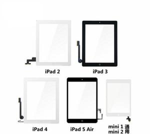Haute qualité ipad air 5 Écran tactile en verre Digitizer avec assemblée adhésive à boutons pour iPad Air ipad 2 3 4 5 mini 60 pcs