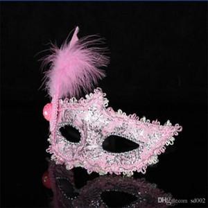Spitze Halloween Feder Half Face Maks Maskerade Kostüm Ball Prinzessin Maske Mode Multi Farben mit Mini Hüte Unisex 2 6hx Ww