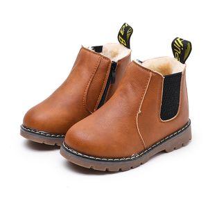 2018 botas para niños otoño invierno niños caballero cremallera moda botas chicas antideslizantes cálida nieve