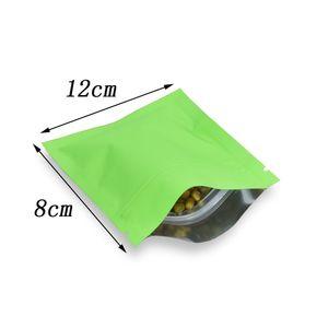 8 * 12 cm Matte Green Heat Sellable Alimento Olor Paquete de cierre de cremallera Paquete Mylar Bolsas Zumper Coffee Tea Paquete de té Bolsa de papel de aluminio con Notch de lágrima