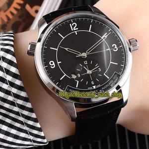 Di alta qualità Nuovo MASTER 1428530 doppio fuso orario quadrante nero automatico meccanico orologio da uomo in acciaio 316l Stee cinturino in pelle orologi