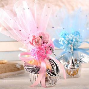 Swan Candy Boxes Acrílico Plata Elegante Swan Wedding Candy Box Classic Romance Colorido Swan Candy Cajas de regalo