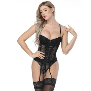 Sexy Palace Corsetto erotico Tuta Dimagrante Intimo Donna Modellatura Strap Sling Pizzo Hollow Bow Floral Harness Bende Lingerie Tops