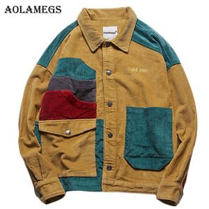Aolamegs chaqueta bolsillos de la chaqueta casual moda de la calle Hombres pana remiendo hombres Outwear capa de los hombres 2018 Otoño Streetwear
