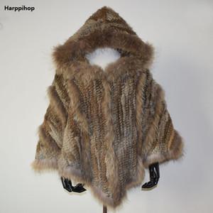 Harppihop Yeni moda kadınlar Hakiki Örme Tavşan Kürk Panço Rakun Kürk Yaka Şal Hood Ile brezilya rusya sıcak satmak