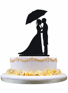 Meijiafei Bride Hold Umbrella and Groom Silhouette Wedding Cake Topper