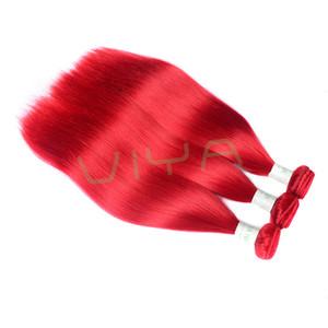 Kırmızı Renk Brezilyalı En Kaliteli Remy İnsan Saç Uzatma Düz İnsan Saç 3 Paketler Çift Atkı