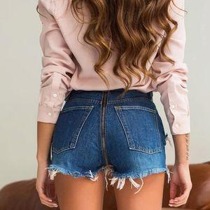 WannaThis Denim déchiré Shorts Femmes Bleu Retour Zipper Jeans Effiloché Mini Classique Bleu Couleur Jeans Poche Sexy Summer Vintage Shorts
