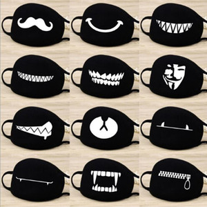 Mode Cartoon-Muster Solid Black Cotton Gesichtsmaske Nette 3D Half Face Mouth Muffel Masken Partei-Schablonen Outdoor Radfahren Maske Drucken