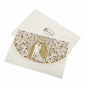 200pcs / lot inviti di nozze con carta interna vuota Biglietto d'invito tagliato a laser per biglietti di auguri di compleanno vuoti di carta oro per feste di nozze