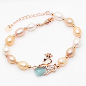 2018 Fashion Jewelry Natural Freshwater Pearl Bracelet Swan 6-8mm big pearl Pearl Bracelet Gives Surprise Gift for Lovers