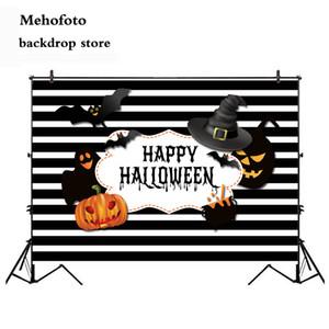 Toptan Cadılar Bayramı Fotoğraf Backdrop Büyücü Vampir Yarasa Kabak Şeytan Arkaplan Fotoğraf Stüdyosu için Siyah ve Beyaz Şerit 11