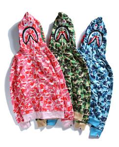 Marke 18SS Tag Gezeiten Herren Frauen Shark Hoodies CAMO SHARK Paar Liebhaber Tarnung Hai Hut Pullover Männer Hip Hop mit Kapuze
