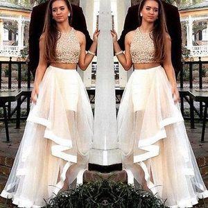 Champagne 2 pièces robes de bal longues 2018 Robe De Bal occasions spéciales robes de soirée pour les femmes une ligne robe de soirée formelle