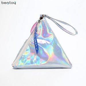 Bentoy Brillante Bolso de Las Mujeres de Cuero Personalidad Triángulo Monedero Holograma Embrague Bolso de Noche Moda Pulseras Señoras Monedero