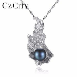 CZCITY Luxo Pesado 925 Sterling Silver Mulheres Colar De Corrente De Água Doce Pérola Pingente Declaração Colar de Casamento Jóias Finas