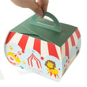Circus Troupe Decoración de carnaval Papel Cupcake Box Macarons Chocolate Postre Cake Cake Candy Box para niños Niños Cumpleaños Par