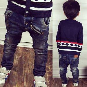 2018 automne enfants garçons jeans décontractés enfants garçons mode fermeture à glissière étiquette rivets étiquette lavé pantalon en jean 3-8 ans!