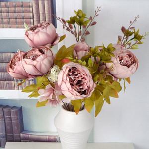 Peônia artificial flor decoração flor Artificial Do Vintage Outono Simulação Peônia Buquê Flores Do Casamento Decoração de Casa de Escritório