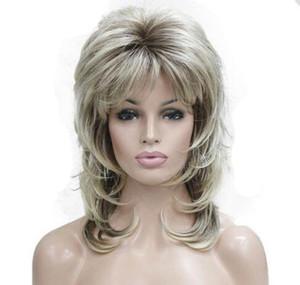 Parrucca sintetica con fibbia interna da 16 pollici per donne Parrucche corte Capelli termici biondi ricci dall'aspetto naturale riccio