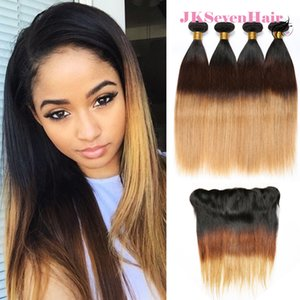 1B-4-27 Brazilian Malaysian Remy Virgin Human Hair 4 Bundles Deal With 13x4inch Lace Frontal Ombre Straight Indian Peruvian Weave Double Wefts