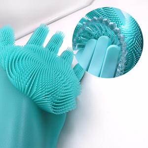 새로운 실리콘 요리 장갑 청소 브러시 주방 세척 씻어 장갑 100 % 식품 학년 Dishwashing 식기 세척기
