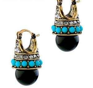 Boucles D'oreilles Vintage Ronde Black Palace Cristal Bijoux De Mode Marque Boucles D'oreilles Pour Les Femmes Innovative Bijoux