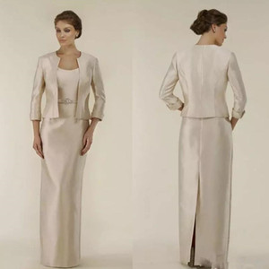 Vendita calda Champagne Impero madre della sposa abiti con giacca scoop neck sash taffettà split back abito da sera lungo vestido de fiesta