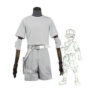 Cosplaydiy Cells At Work Juvenile White Blood Cells Pantaloni Top Suit Hataraku Saibou Costume Cosplay L320
