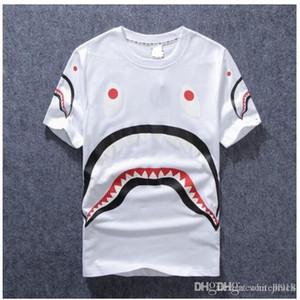 Мужская одежда одежда Tide Марка акулы рот печати Мужчины Фонд Женщины Любители шею с коротким рукавом Футболка для Жалость футболки моды Top