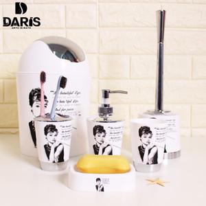 SDARISB Cartoon Parigi Torre di plastica Stampa 4 serie di vetrine elegante bagno e servizi igienici pennello per la casa Accessori per il Bagno