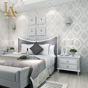 Al por mayor-Classic European Style Wallpapers Home Decor en relieve 3D Damasco Wallpaper Rollo Dormitorio Sala de estar Sofá TV de fondo
