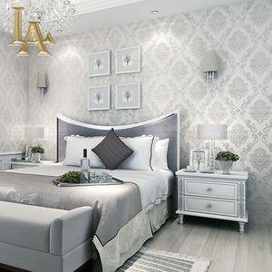 Toptan-Klasik Avrupa Tarzı Duvar kağıtları Ev Dekor kabartmalı 3D Damask Wallpaper Rulo Yatak Odası Oturma Odası Kanepe TV Arkaplan