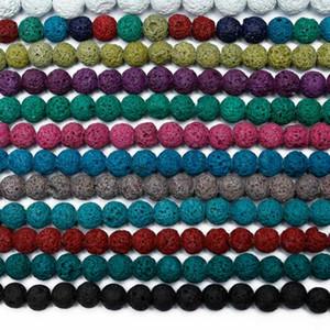 8mm coloré Pierre Volcanique ronde perles en vrac Rocher Pierre naturelle Boule gros bricolage pour les bijoux Bracelet Faire cadeau