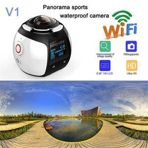 V1 4K VR 360 درجة عمل كاميرا واي فاي ميني 2448 * 2448 16MP الترا HD بانوراما كاميرا 3D مقاوم للماء كاميرا VR