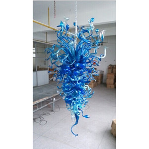 Hot Sales Blue Glass Design Chandelier Light Pretty Bulb Tail Glass Crooked Pipes Assemble Pendant Light Fixture