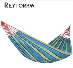 خفيفة واحدة قماش أرجوحة الفناء الترفيه شنقا السفر في الهواء الطلق النوم الاسترخاء Hamak سرير 190 * 100 سم