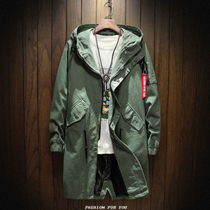 Wholesale- 2017 New style long Trench Coat Men  clothing fashion Long Jackets Coats -clothing mens Overcoat Size M-2XL
