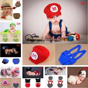 Los más recientes Crochet Baby Photography Props de punto Baby Boy Girl Coming Home Outfits Crochet Baby de dibujos animados Sombreros recién nacido traje 1 Unidades
