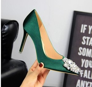 free shipping gren color fashion new style diamond silk high heel pointed toe buckle wedding pricess shoes 485